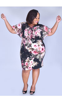 YENA- Plus Size Floral Print Caplet Dress