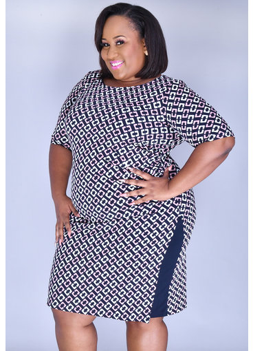 IYARA- Plus Size Puff Print Dress with Split