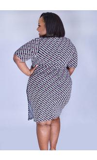 IYARA- Plus Size Puff Print Dress with Split