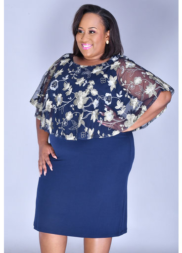 INDRE-Plus Size Printed Caplet Dress