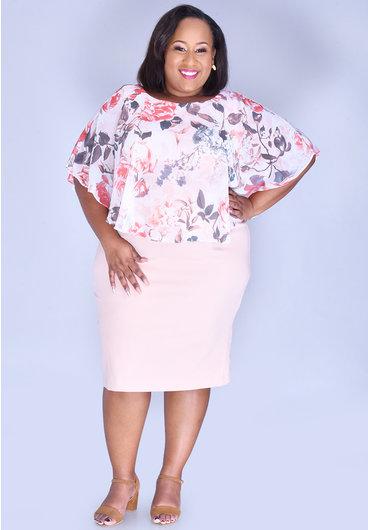INDRE-Plus Size Printed Caplet Dress
