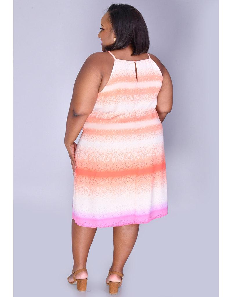 FRIDA- Plus Size Tie-Dye Strappy Dress