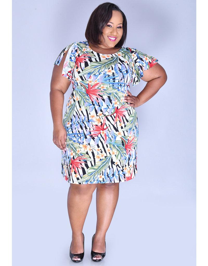 ISHAAN- Plus Size Floral Print Shift Dress