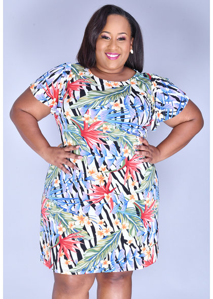 ISHAAN- Plus Size Floral Print Shift Dress