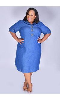 KIARA- Plus Size Jeans Shirt Dress