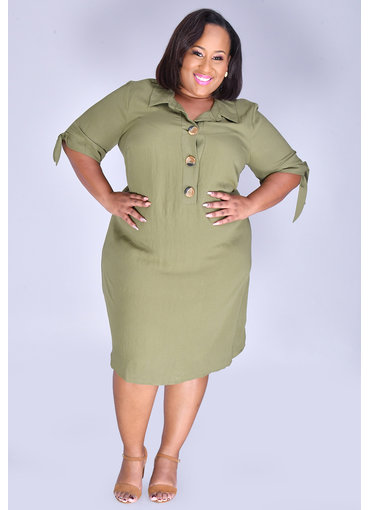 KYLEE- Plus Size Full Sleeve Shirt Dress