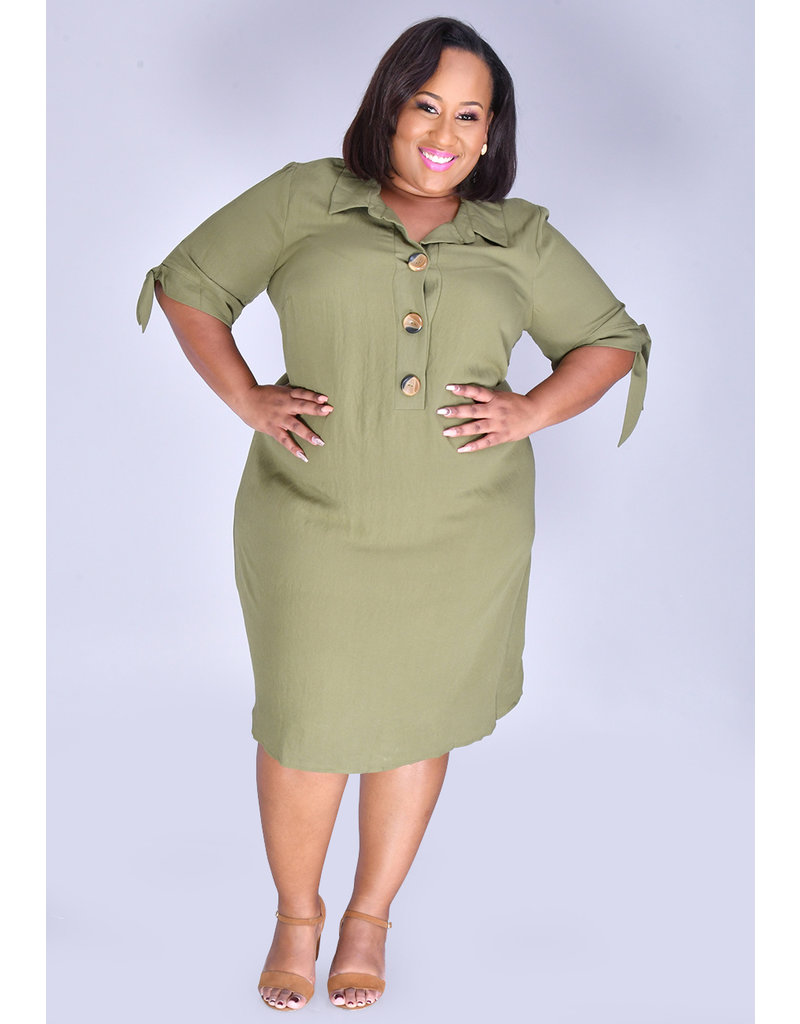 KYLEE- Plus Size Full Sleeve Shirt Dress
