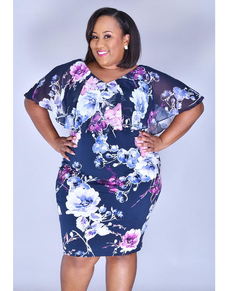 YENA- Plus Size Floral Print Caplet Dress