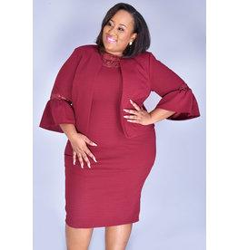 ELYSE- 3/4 Sleeve Jacket Dress with Mesh