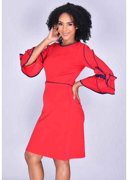 Allen Kay RAGNA- Contrast Trim 3/4 Sleeve Dress