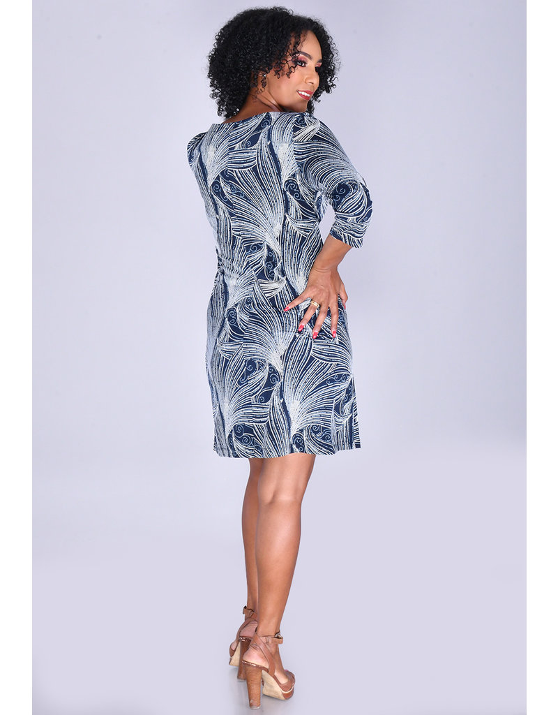 Sandra Darren YARIA- Swirl Puff Print 3/4 Sleeve Dress
