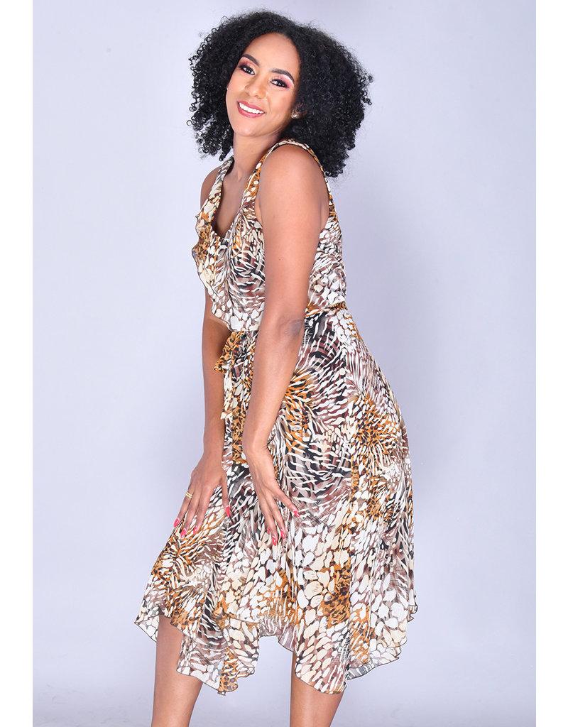 FAIGA- V-Neck Animal Print Dress