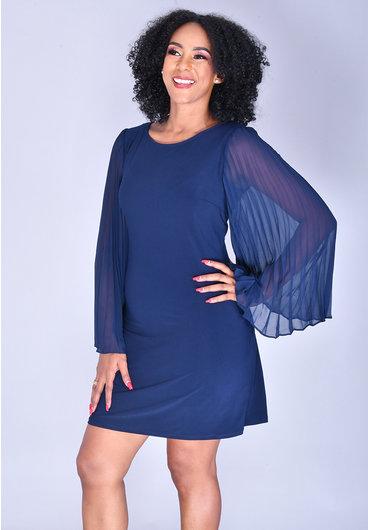 MSK YUDIT- Long Chiffon Pleated Sleeve Dress