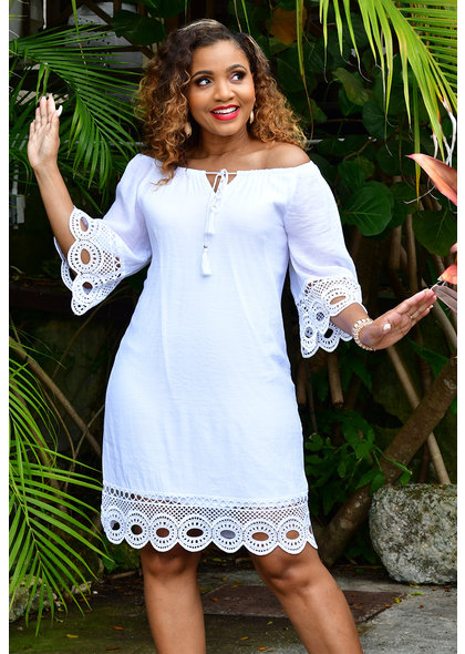 MLLE Gabrielle GALAH- Off Shoulder Dress with Crochet Sleeves
