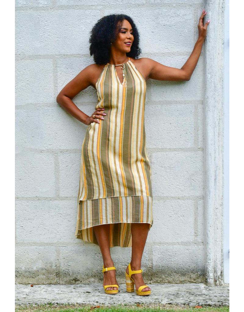 MLLE Gabrielle GESINE- Stripe Layered Halter Dress