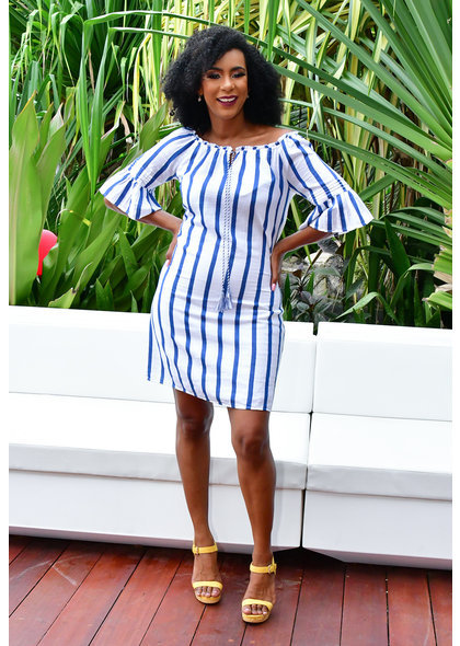 MLLE Gabrielle KORAH- Striped Bell Sleeve Dress