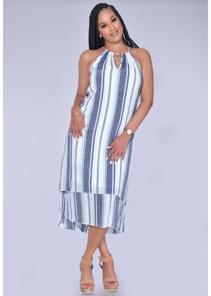 MLLE Gabrielle GESINE- Striped Layered High Low Dress