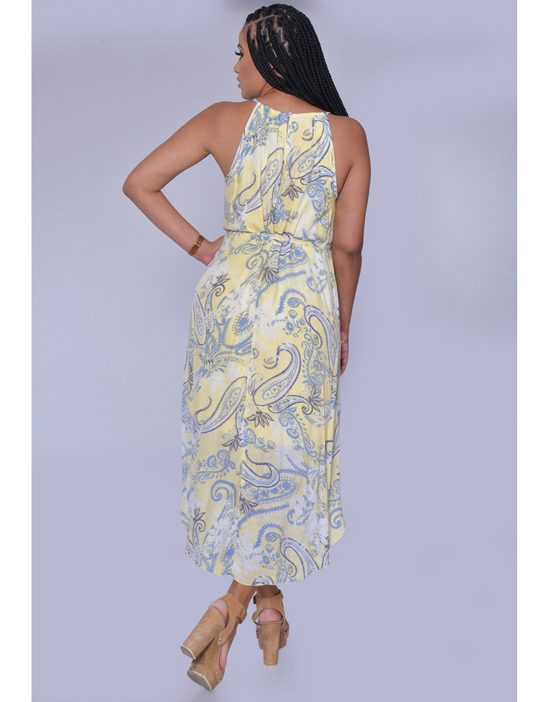 MLLE Gabrielle GAYE- Printed Halter Dress with Chain Accent
