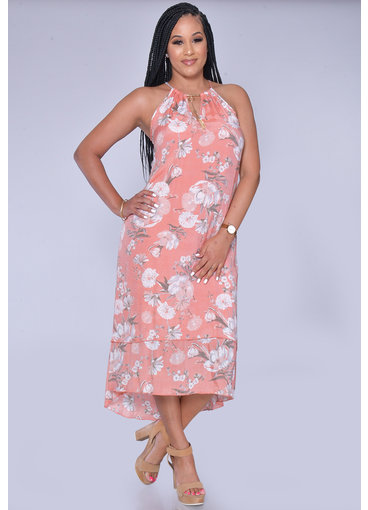MLLE Gabrielle GINELLE- Floral Print Layered Halter Dress