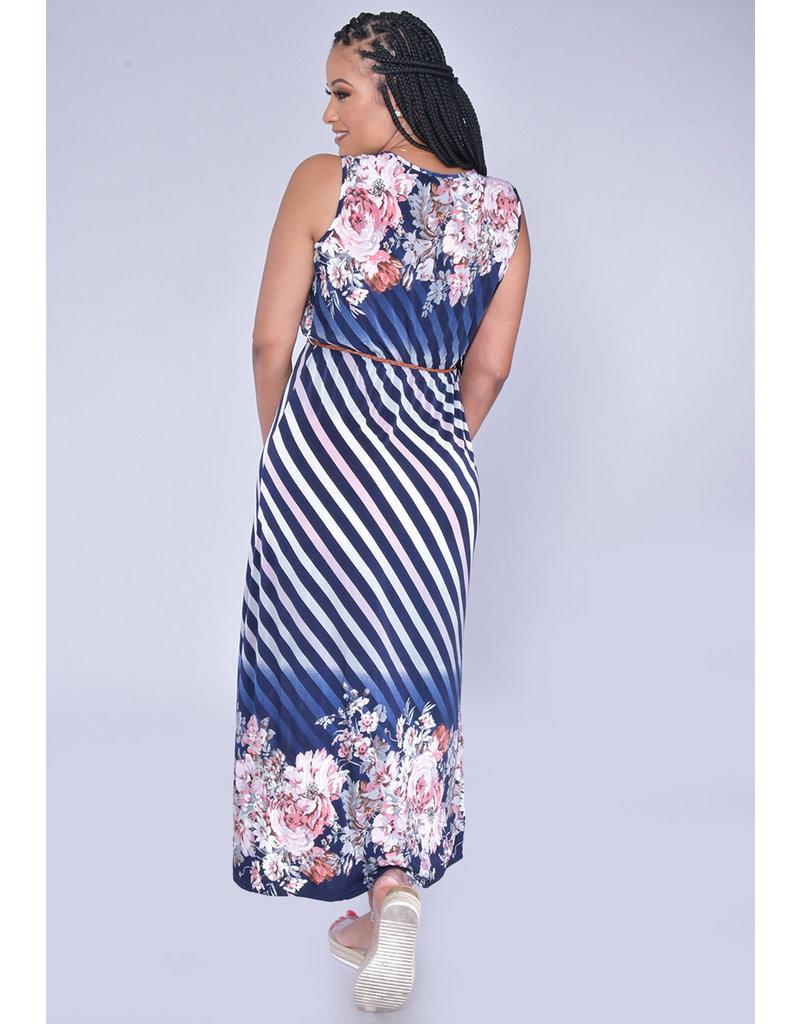 ACE Fashions ISHARA- Floral Print Maxi Dress with Belt-like Sash