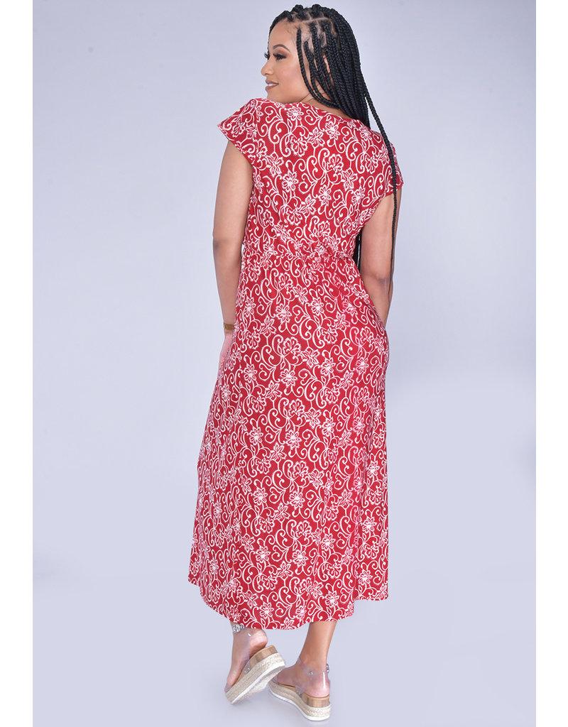 ACE Fashions IDANA-Printed Short Sleeve Maxi Dress