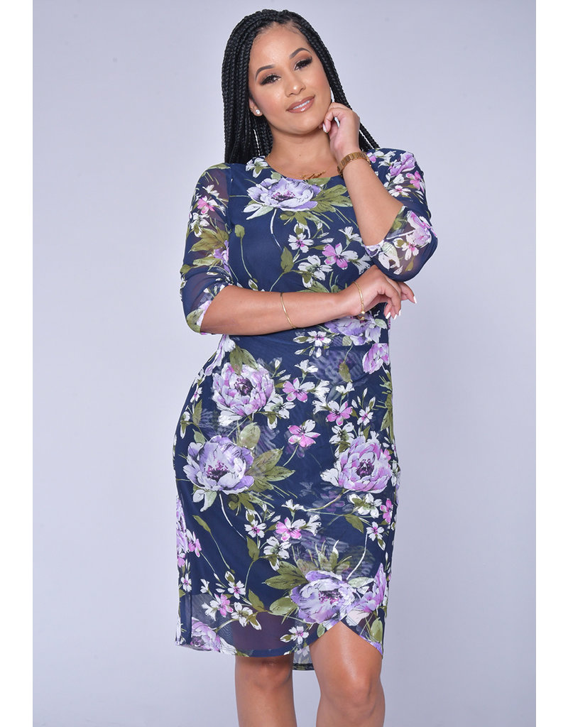 MEKA- Floral Print Faux Wrap Dress