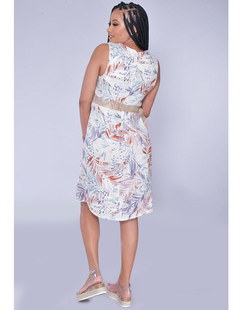 Shelby & Palmer NIKKI-Leaf Print Armhole Envelope Dress