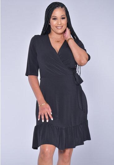 Signature YAYA- Three quarter Sleeve Faux Wrap Dress