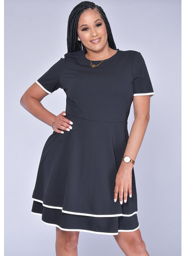 RAFI- Short Sleeve Contrast Trim Dress