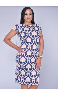 UZOMA- Geometric Print Short Sleeve Dress