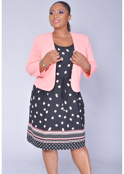 Studio 1 BELIE- Polka Dot Dress with Solid Jacket