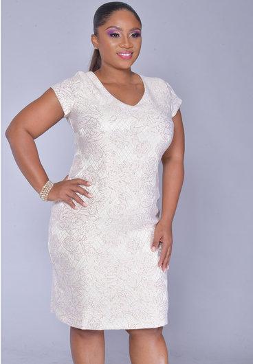 Scarlett ELLEN- Short Sleeve V-Neck Dress with Shimmer