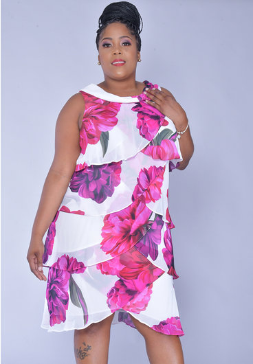 FYFFE- Printed Cowl Neck Chiffon Layered Dress