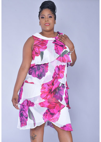 FYFFE- Printed Cowl Neck Chiffon Layered Dress