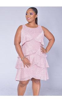 FELAN- Foil Shutter Broad Strap Dress