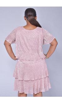 FARLY- Foil Short Sleeve Shutter Dress