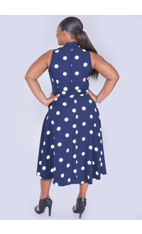ROBBIE- Polka Dot Fit & Flare Dress