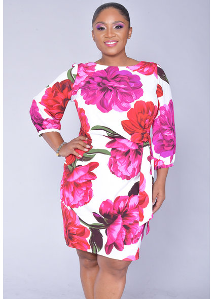 PIPPI-Large Floral 3/4 Sleeve Dress