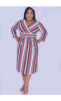 YAHYA- Striped Fit & Flare 3/4 Sleeve Dress