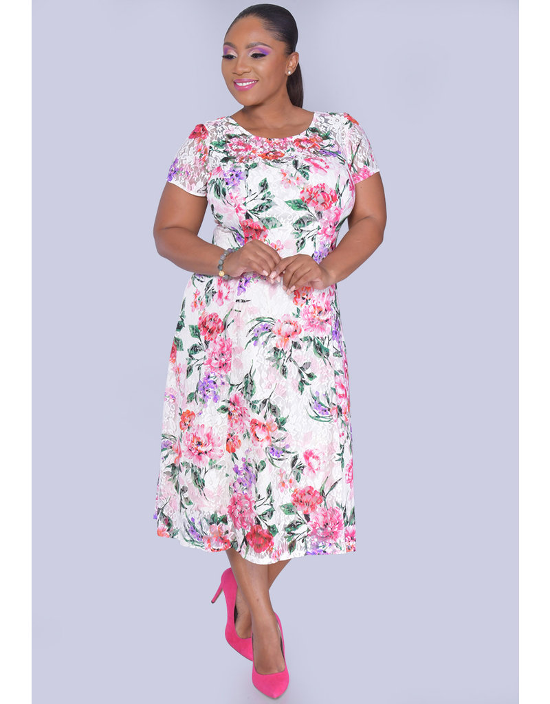 LORA- Floral Fit & Flare Short Sleeve Dress