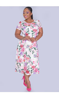 LORA- Plus Size Floral Fit & Flare Short Sleeve Dress