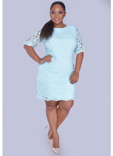 Sandra Darren CLEM- Lace Overlay Three Quarter Sleeve Dress