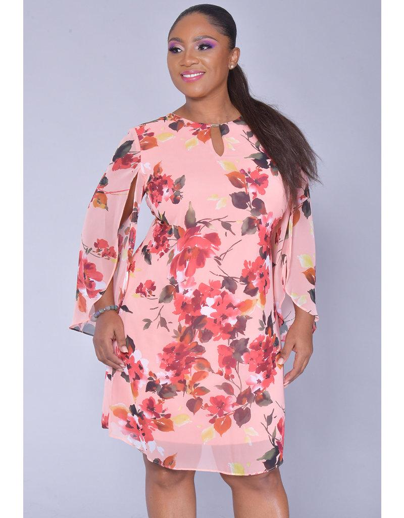 FINA- Floral Three Quarter Sleeve Dress