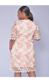 CAIA- Floral Crochet Short Sleeve Dress