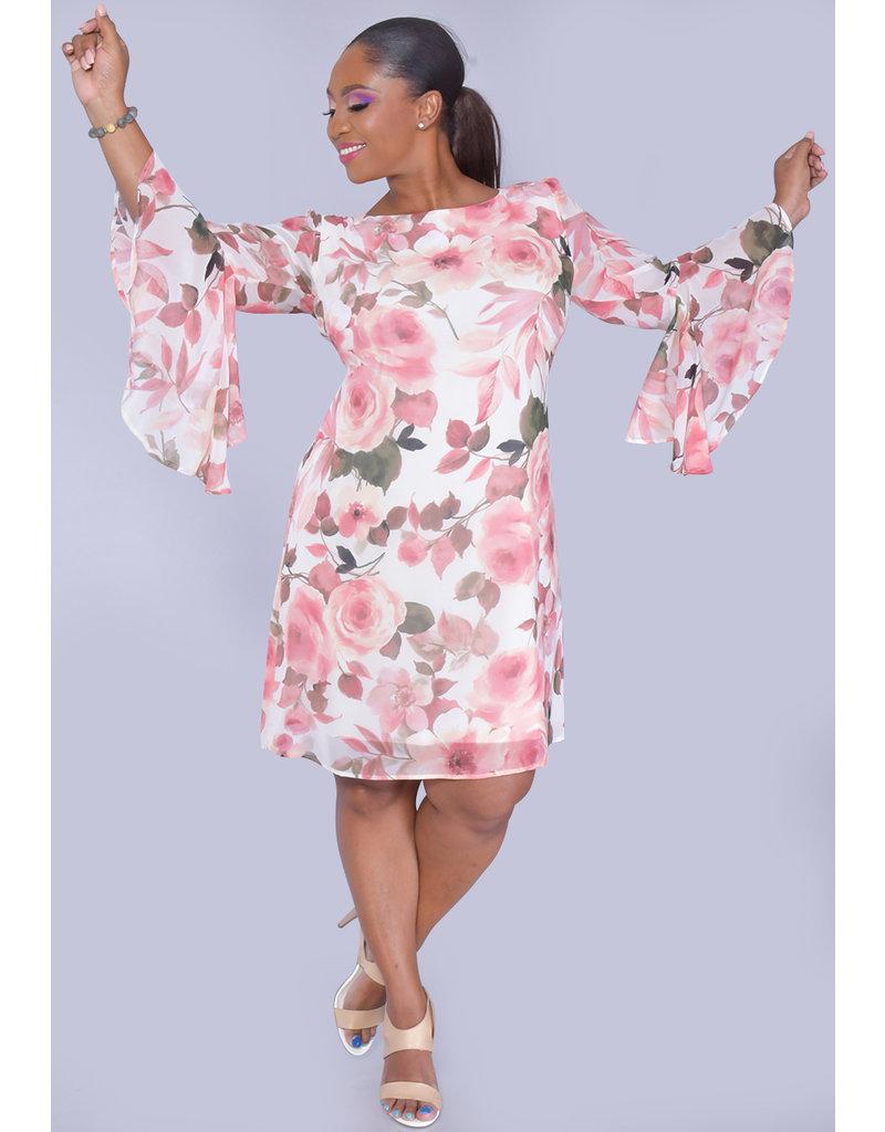 FABI- Floral Print Trumpet Sleeve Dress