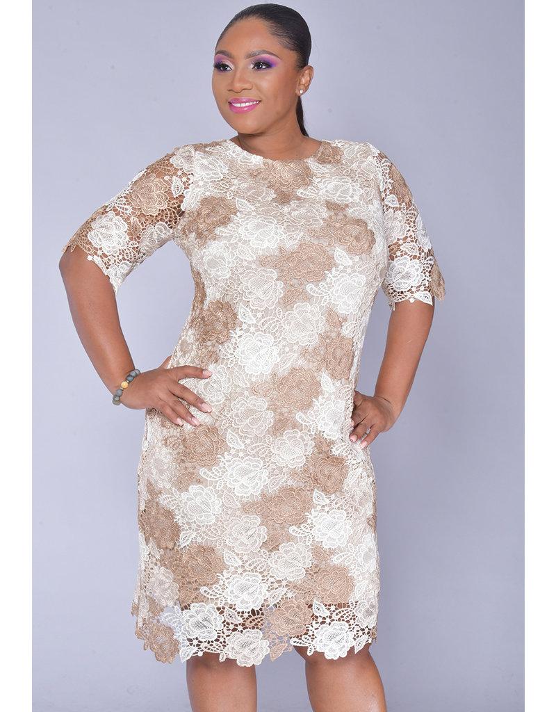 CAIA- Floral Crochet Short Sleeve Dress