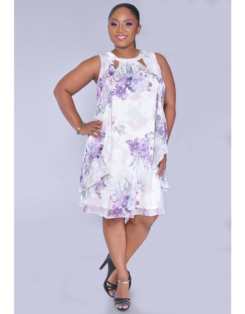 FAITH- Pearl V-Cut Broad Strap Dress