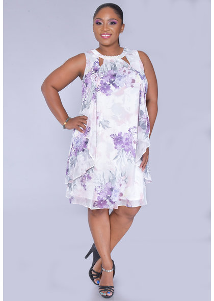 FAITH- Plus Size Pearl V-Cut Broad Strap Dress