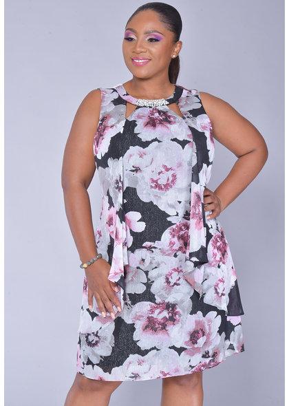 FAITH- Plus Size Pearl V-Cut Broad Strap Dress