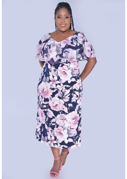 ISABEL- Plus Size Floral V-Neck Dress With Ruffle